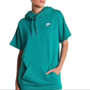 Nike Short Sleeve Oversized Hoodie Rio Teal Size S